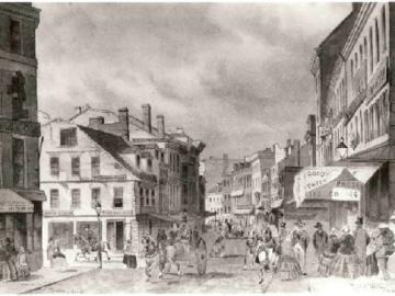 Sketch of Corner of School and Washington Streets
